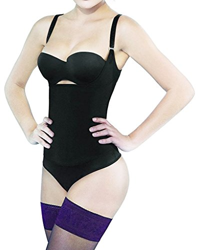 Camellias Women Seamless Firm Body Control Bodysuit Thong Body Shaper Slimmer Shapewear Black, SZ7095-Black-XS