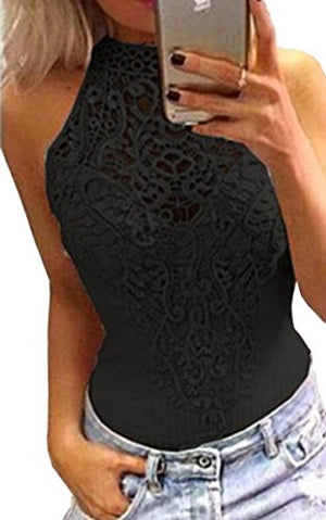 Angashion Womens Sexy Halter Neck Lace Bodysuit Jumpsuit Clubwear Tops, Black, US S