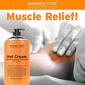 Majestic Pure Anti Cellulite Cream, 87% Organic, Tight Muscles & Joint and Muscle Pain, Natural Cellulite Treatment - Soothes, Relaxes, and Tightens Skin - 9 Oz