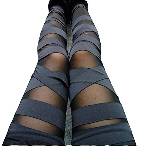 Dikoaina Women Girls Sexy Solid Color Bandage Mesh Leggings, Black, One Size