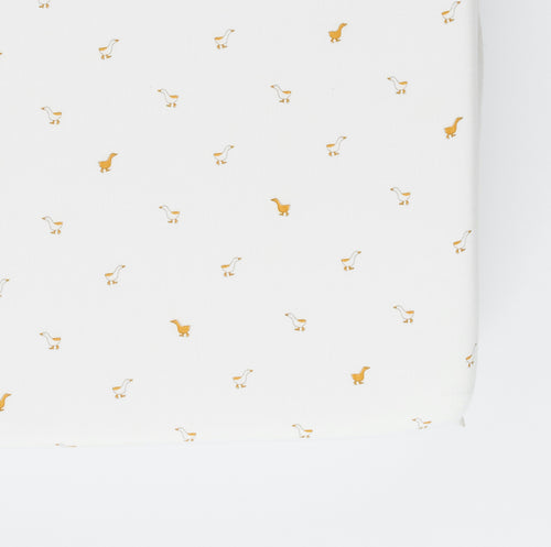 Pehr - Crib Sheet, Hatchlings Duck (NEW Chambray organic cotton)
