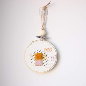 Copy of Abstract Embroidered Hoop Art: Moroccan Rug - Yellow Fluff