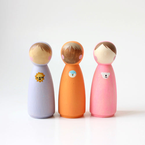 peg dolls with animal hoodies: lion, penguin, bear