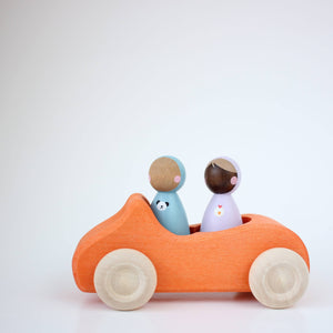 two lil peeps cruising in a grimm's orange convertible. Car not included.