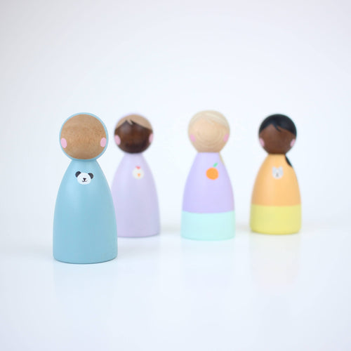 4 handpainted multicultural peg dolls