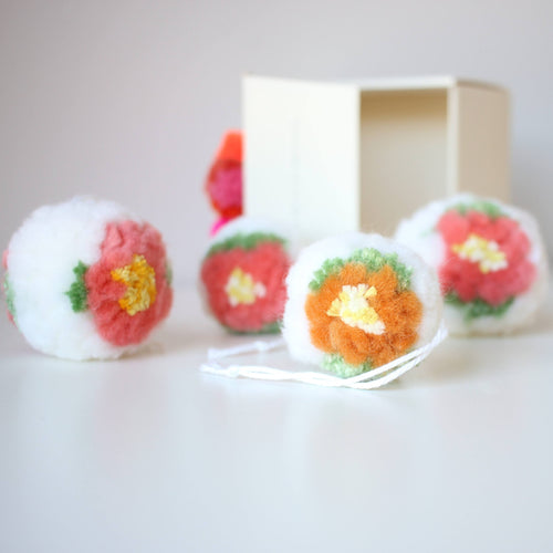 Flower pom ornaments