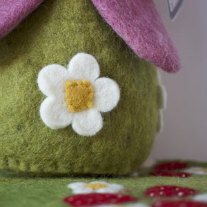 Small details of papoose strawberry house