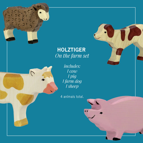 Holztiger farm set with 4 animals.
