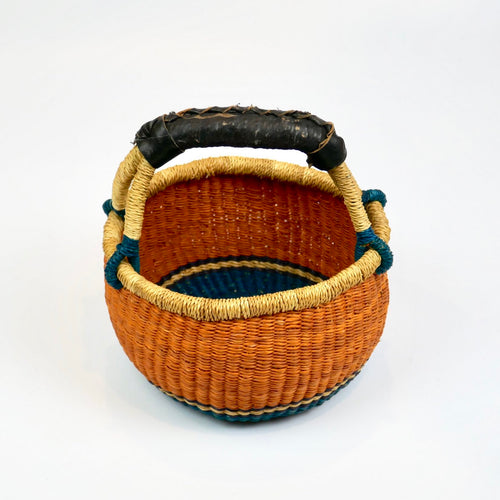 Toddler Sized Bolga Basket - Burnt Orange