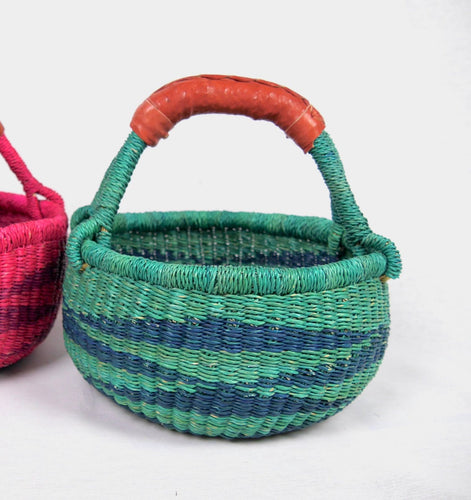 Toddler Sized Bolga Basket - Lucky Green