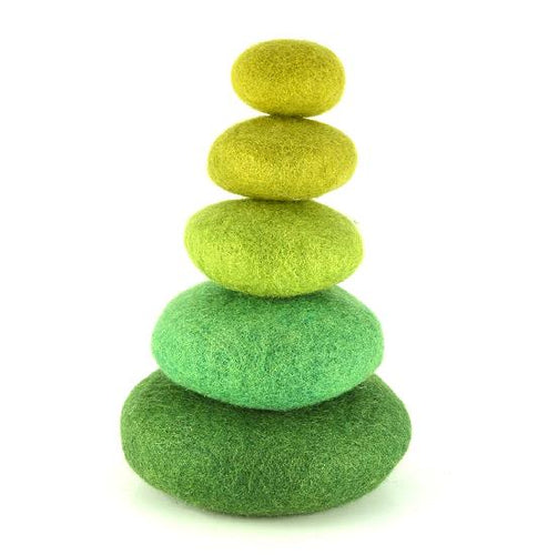Papoose - Stacking Pebbles Set, Green (5pcs)