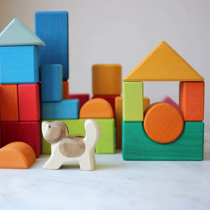 Gluckskafer Blocks Geometric Shapes in action with Ostheimer dog  not included as part of set