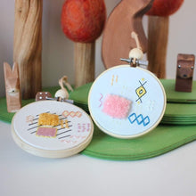 Load image into Gallery viewer, Abstract Embroidered Hoop Art: Moroccan Rug - Pink Fluff