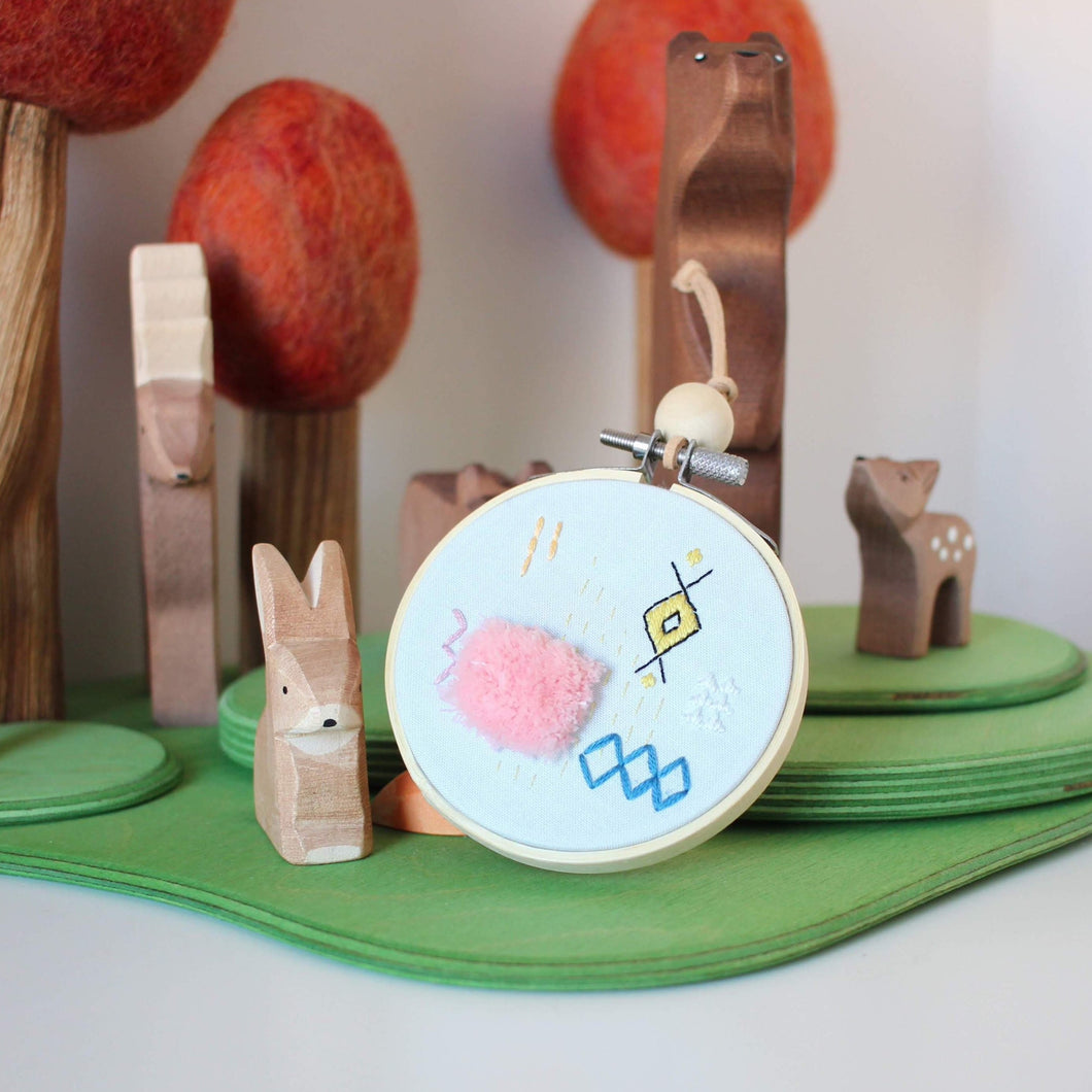 Abstract Embroidered Hoop Art: Moroccan Rug - Pink Fluff