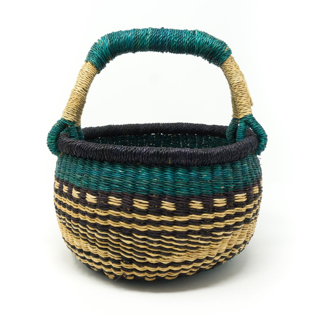 Toddler Sized Bolga Basket - Green Mon Mono