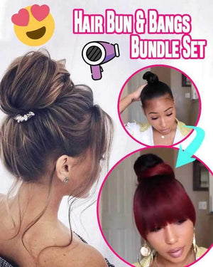 Instant Hair Bun + Bangs Bundle Set