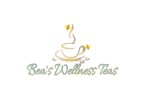 Bea's Wellness Teas cup with bees