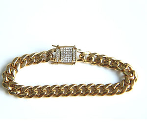 10K GOLD 10mm Iced out clasp Solid Cuban Bracelet *NEW*