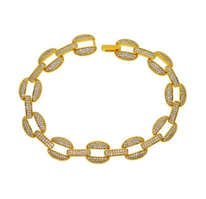 14K YELLOW GOLD Curb Cuban Link Bracelet Buckle *NEW*-A&M