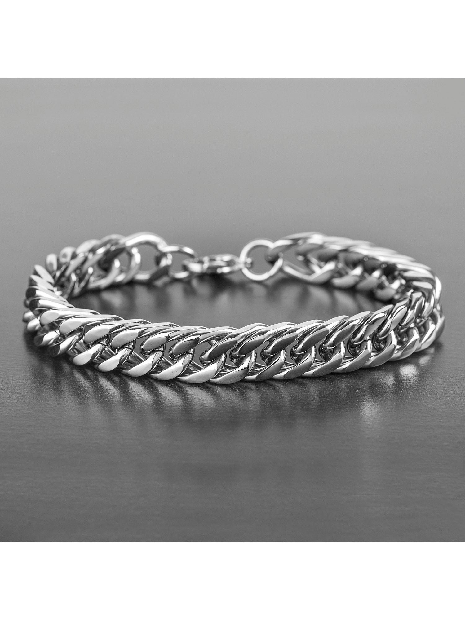 Stainless Steel Polished Curb Chain Link Bracelet (10mm) - 8""