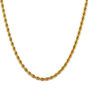 ----ONE TIME OFFER----3MM Gold Men's Rope Chain Necklace *NEW*