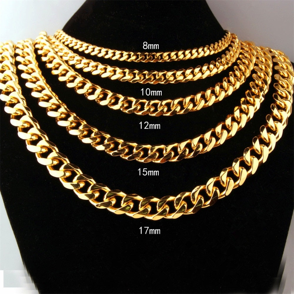5mm TO 12mm MIAMI CUBAN LINK CHAIN NECKLACE