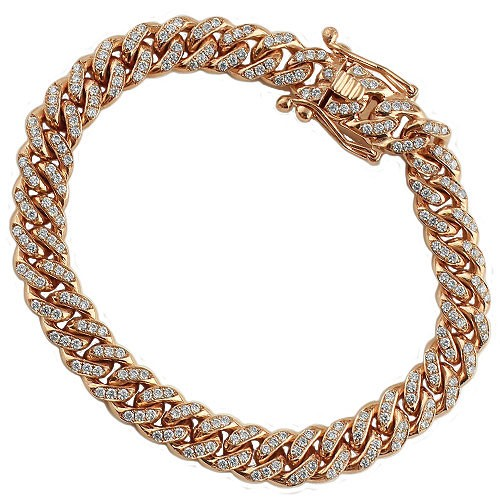 18K Rose Solid Gold Mens Diamond Cuban Bracelet - A&M