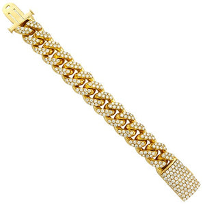 14K Gold Diamond Cuban Link Bracelet in Yellow Gold - A&M