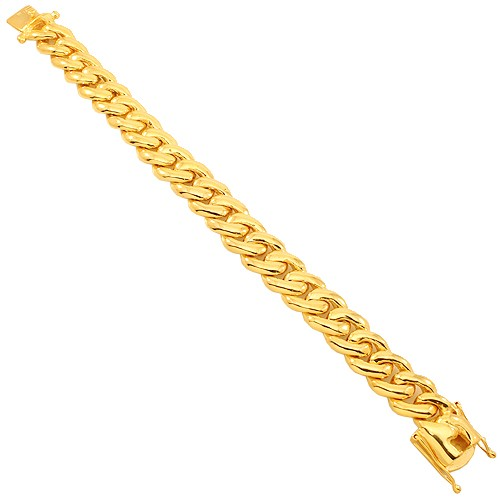 "Yellow Gold Mens Cuban Link Bracelet 8.5"" 13.5 mm - a-m-clothing-shoppe"