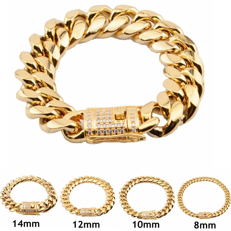 12mm/14mm CZ Stainless Steel Curb Cuban Link Bracelet Gold