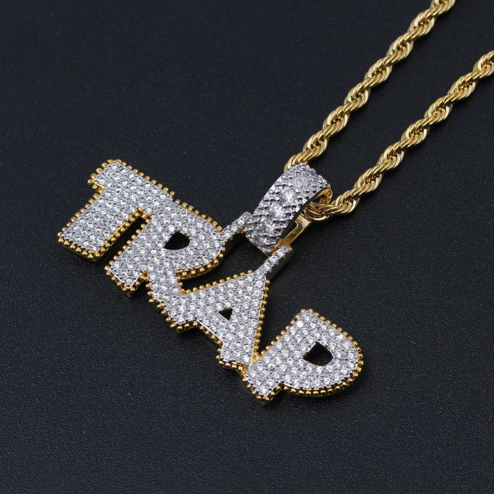 CZ Jewelry Hip Hop TRAP Letter Pendant Copper Micro pave with Zircon stones  *NEW*