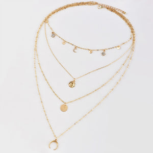 Copy of Gold color Choker Necklace for women crystal moon stars Pendant Chain Necklaces & Pendants Laces velvet chokers Fashion Jewelry - a-m-clothing-shoppe