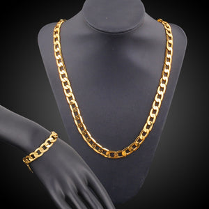 Hip Hop Gold Color Iced Out Crystal Miami Cuban Chain Gold Necklace & Bracelet Set  HOT SELLING THE HIP HOP KING