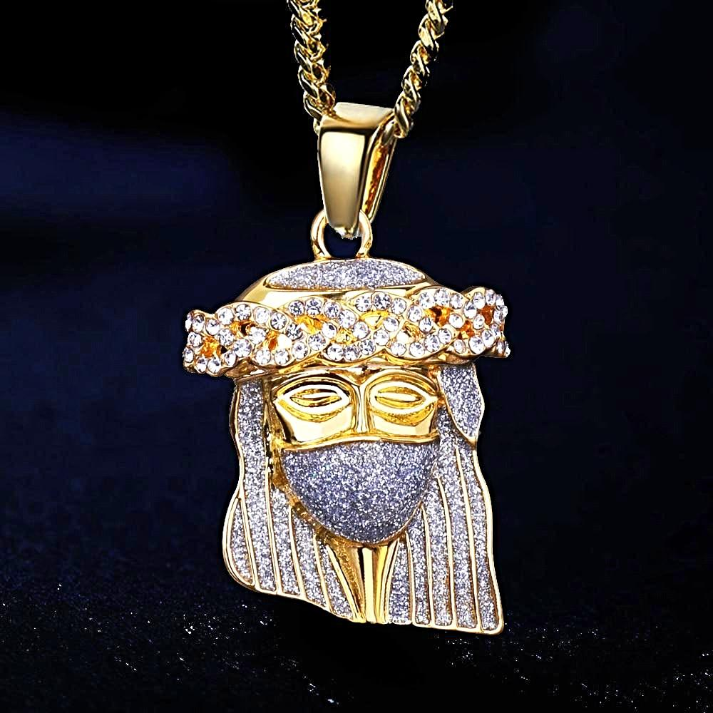 Gold JESUS FACE MICRO DIAMOND