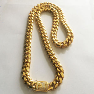 GOLD 10/14mm Men Cuban Miami Chain - a-m-clothing-shoppe