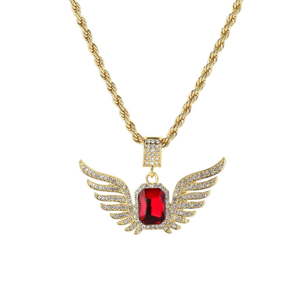 Iced Out Angel Wings Necklace Men Women *NEW*