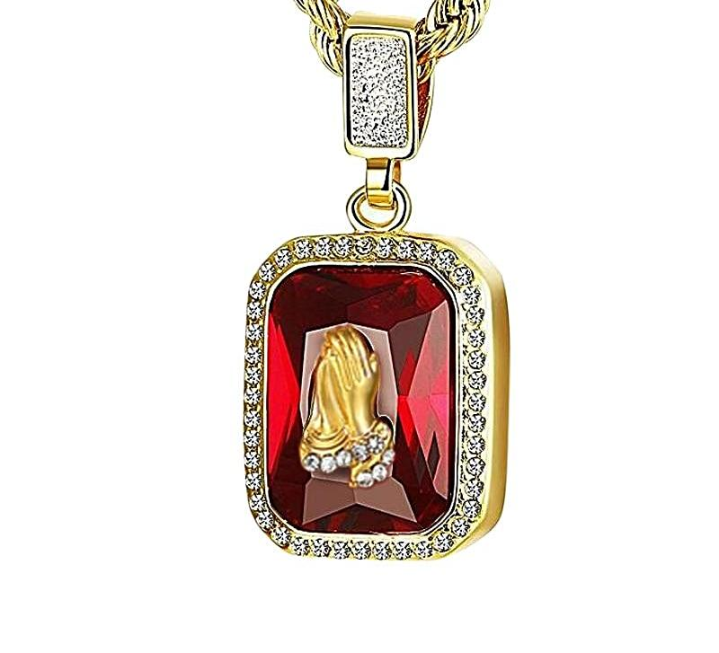 "Iced Out Micro Red Stone Pendant Necklace 24"" Rope  Chain *NEW*-A&M"