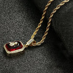 "Iced Out Micro Red Stone Pendant Necklace 24"" Rope  Chain *NEW*"