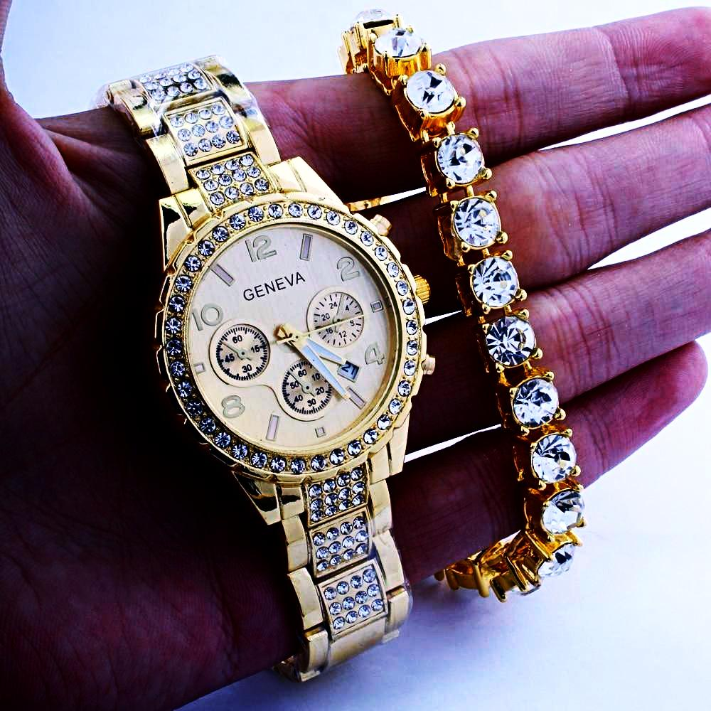 Gold Cubic Zirconia Watch & 8MM 8.26 '' CZ Bracelet Watch Set *NEW*