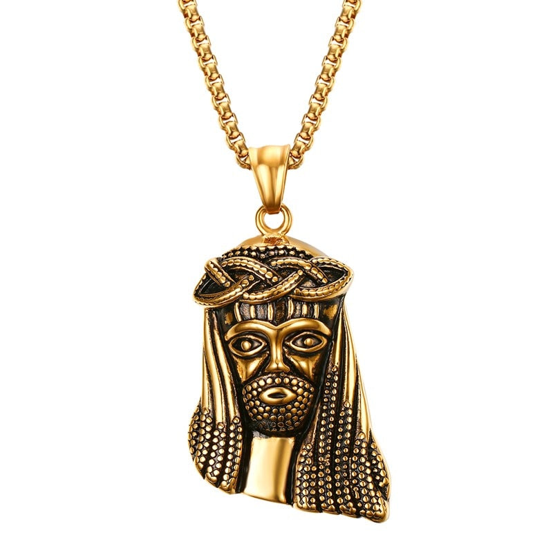 Gold Jesus Piece Pendant & Necklace