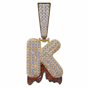 REAL ICE OUT BLING BLING 26 Bubble Letters Pendant Necklace