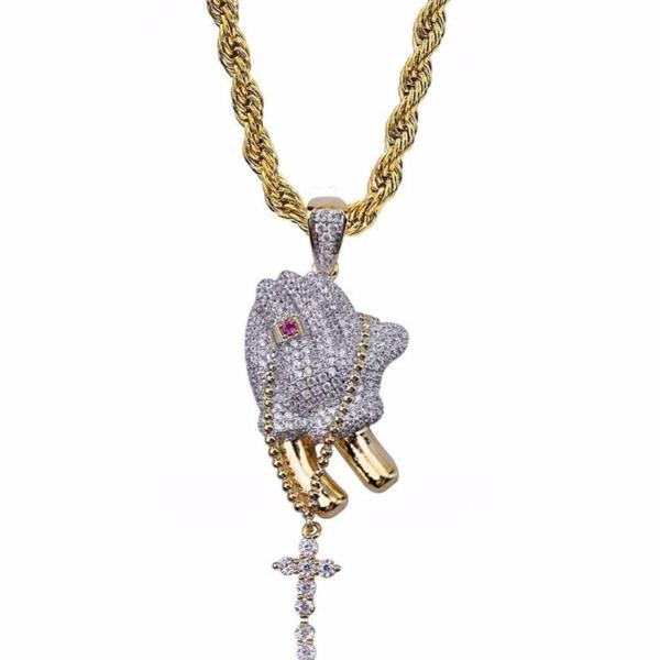 Iced Out Micro CZ Praying Hands Cross Pendant *NEW* - A&M