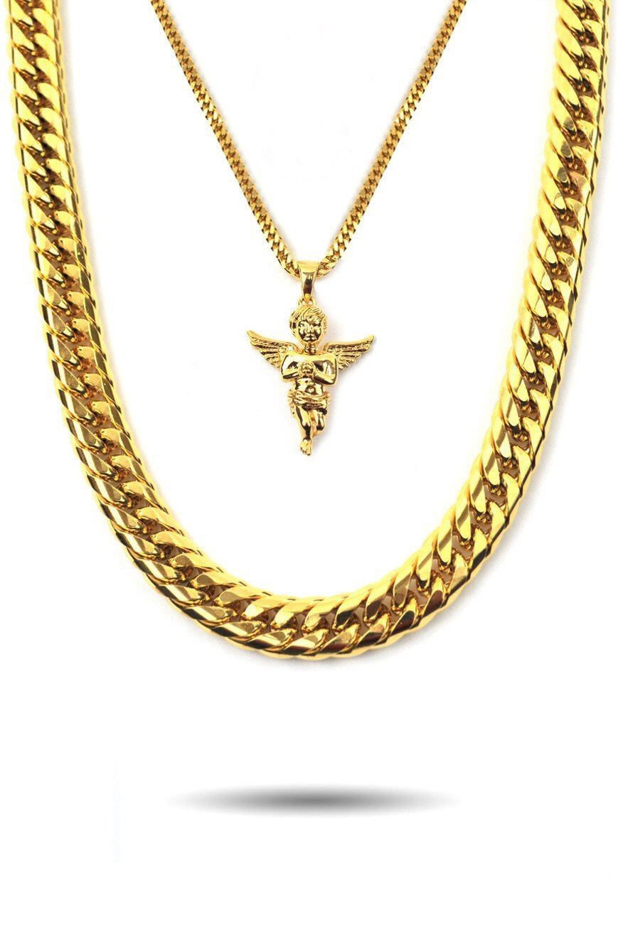 MICRO ANGEL PIECE & CUBAN LINK SET - a-m-clothing-shoppe