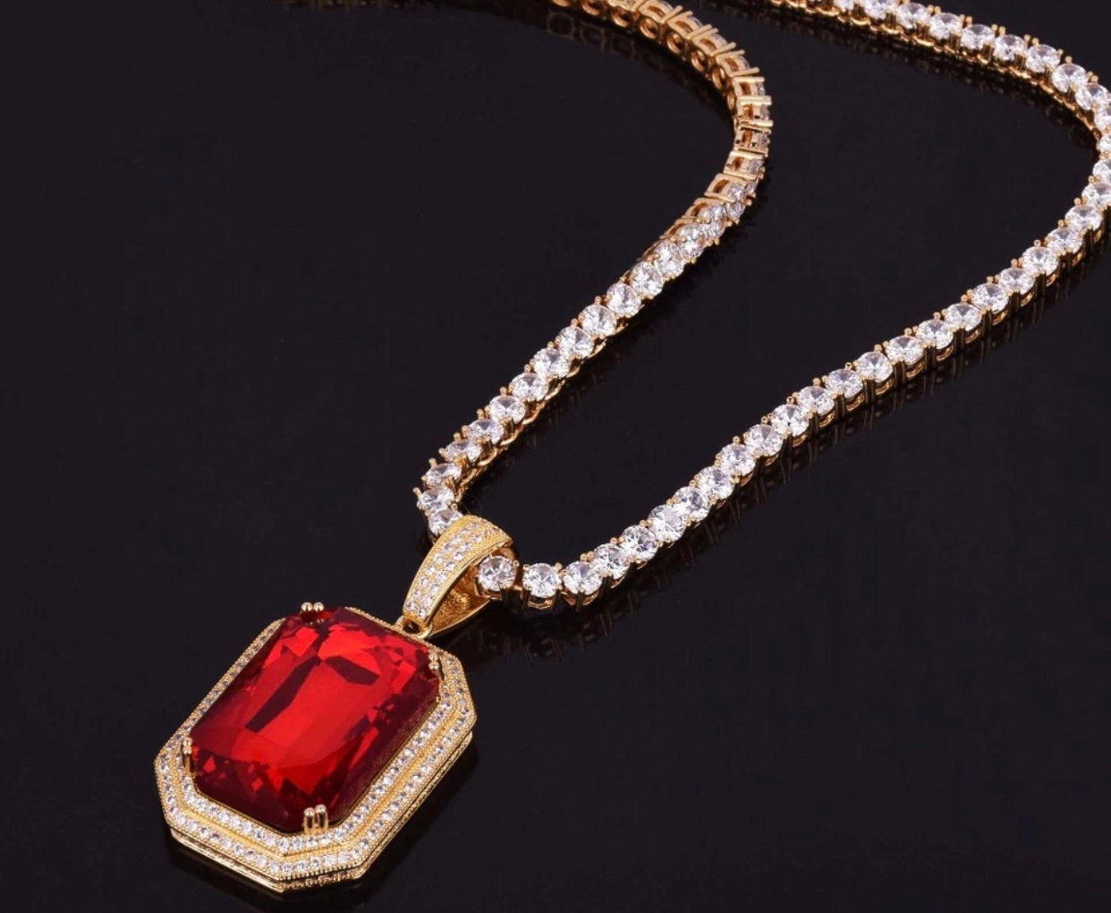 Ruby Tennis Pendant & Chain *NEW*