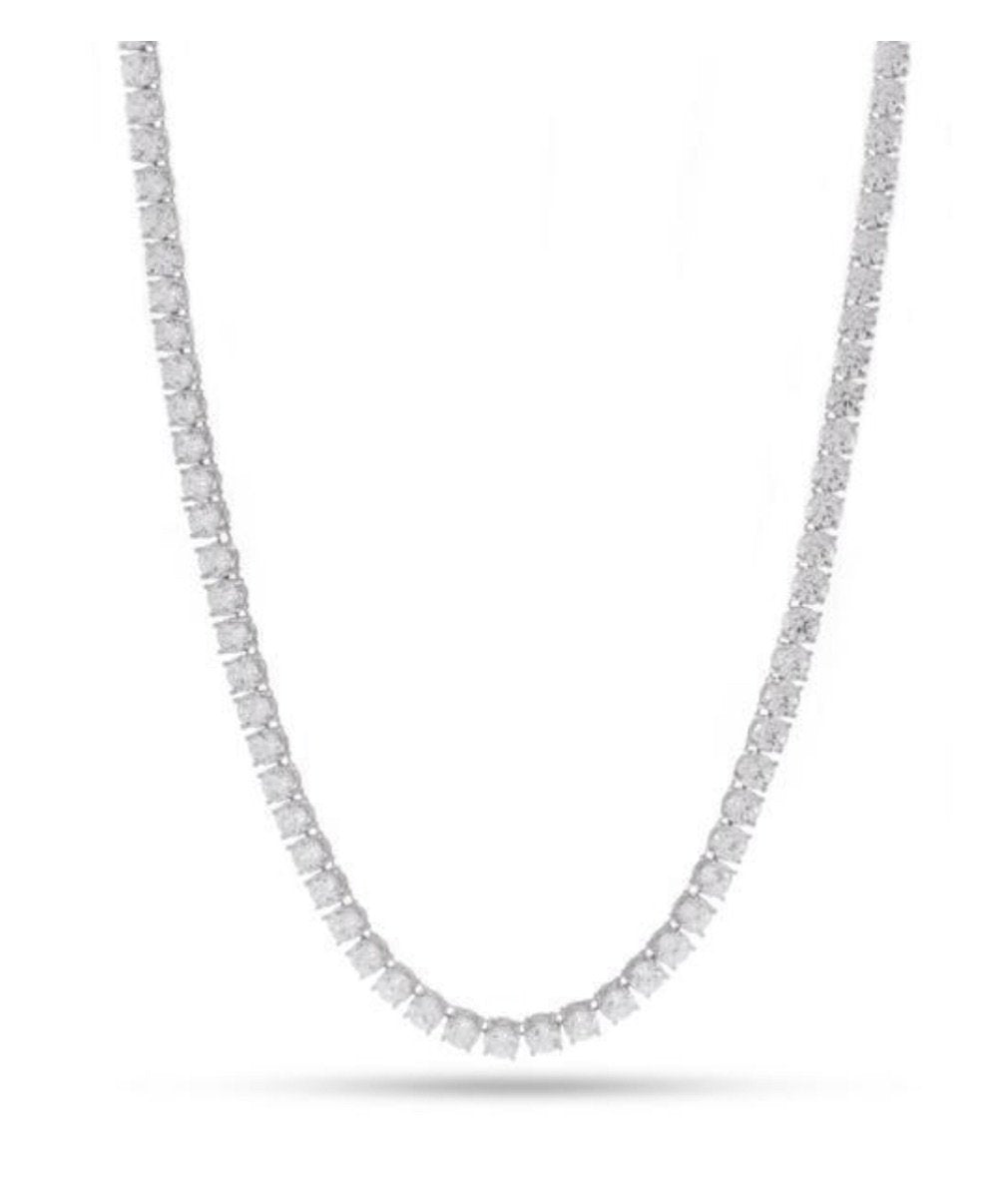 4mm, White Gold Single Row Tennis Necklace