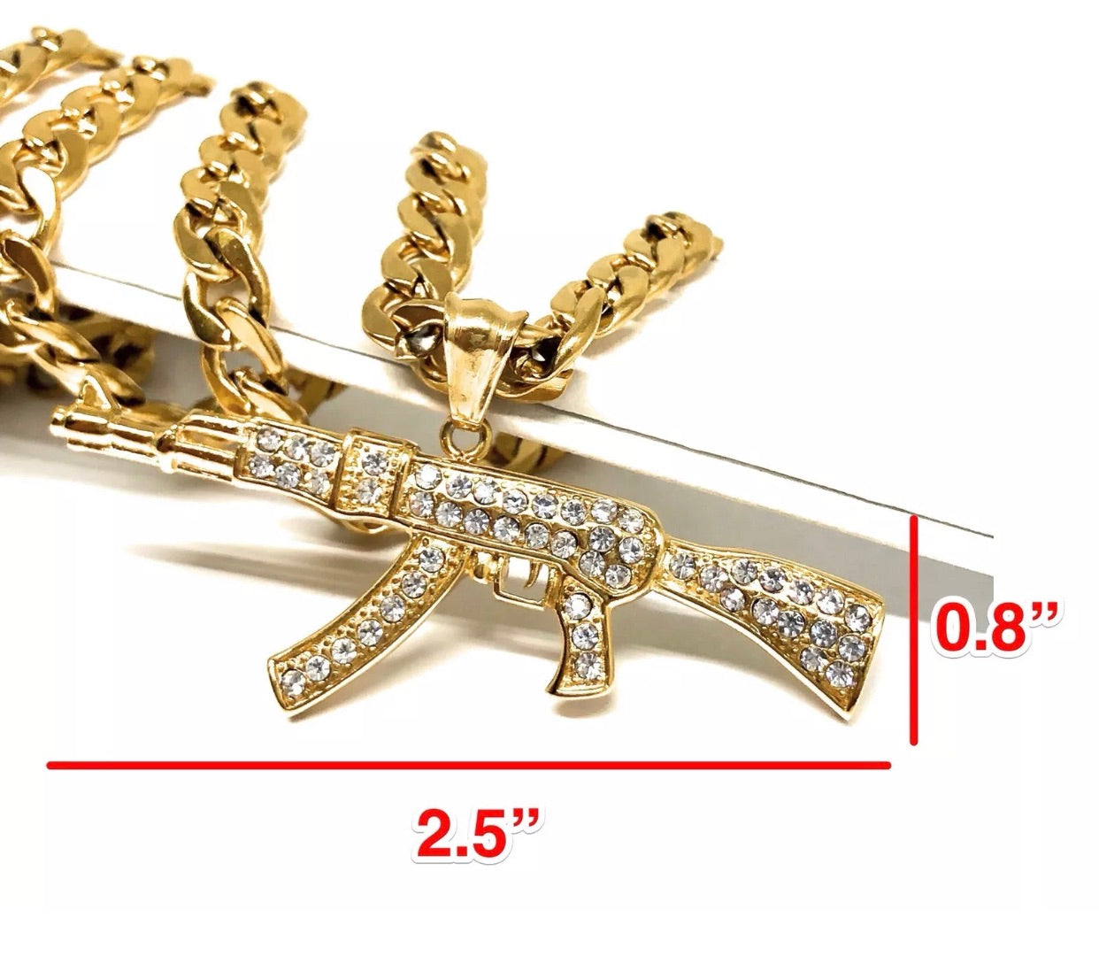 "Iced Out Ak-47 Machine Gun Gold Plated Pendant 30"" Cuban Link 7mm - a-m-clothing-shoppe"