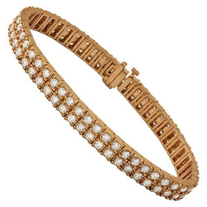 "14K ROSE SOLID GOLD Diamond Two Row Bracelet 8"" *NEW* - a-m-clothing-shoppe"