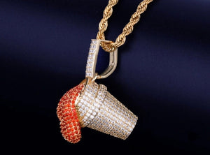 Cz 18K Gold Red Cup Pendant *NEW* - A&M