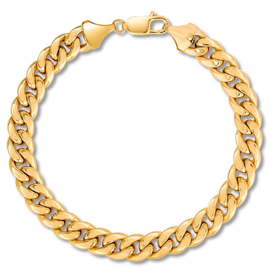 "Men's Miami Cuban Curb Bracelet 18K Yellow Gold 9"" Length - A&M"