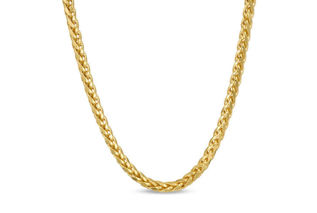 "Ladies' 3.15mm Diamond-Cut Franco Snake Chain Necklace in 14K Gold - 20"" - a-m-clothing-shoppe"